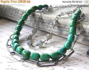 Summer Sale 20% Off Multi-Strand Green Turquoise, Labradorite and Sterling Silver Chain Necklace, Layered Necklace