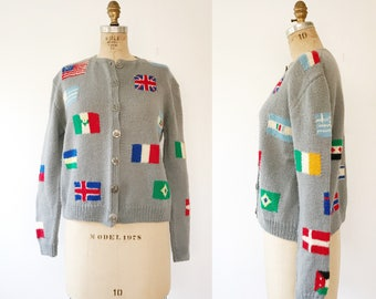 vintage cardigan / vintage hand knit sweater / Flags of the World Sweater