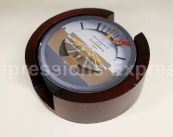 Altimeter Vertical Speed Altitude Direction Attitude Aviation Coaster Set of 5 with Wood Holder