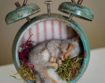Lost in Time Sleepy Nesting Baby Squirrel  Aged Patina Vintage Style Alarm Clock One of a Kind Alpaca Needle felted Sculpture Steampunk