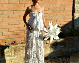 Sweetheart Wedding Dress-Sweetheart Dress-Sweetheart Neckline-Maternity-Wedding Separates-Hand Crochet Lace Couture Pineapple-Pregnant Bride