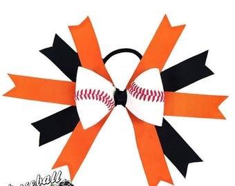 JULY SALE - 20% OFF: Baseball Hair Bow - Orange Black