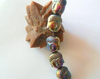 Titanium Hematite 2 Sided Buddha Heas Beads, Set of 5