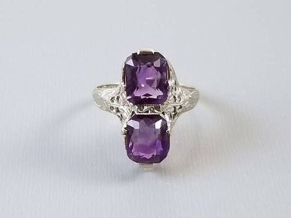 Antique Art Deco 14k white gold filigree cushion cut amethyst statement ring, maker signed E.L. Logee of Providence, Rhode Island, size 6.5