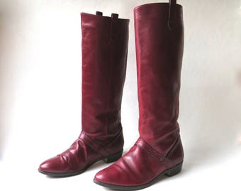 80s vintage Etienne Aigner Oxblood Leather Riding Boots / Equestrian Hipster Indie Preppy Leather Riding Boots