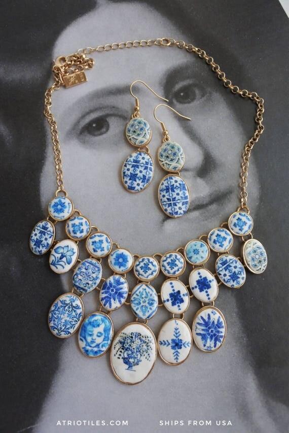 "Statement Necklace Set Portugal Antique Azulejo BLUE TILE BiB  -  Turkish Persian Bohemian Arab Ethnic Boho Moroccan  OOAK 16"" to 18"""
