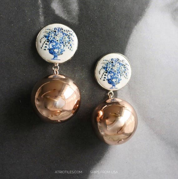 Earrings Portugal Tile Silver Azulejo Ball Rose Gold Stud  - Church of Mercy Evora Blue Travel History Flowers Frieze Ships from USA