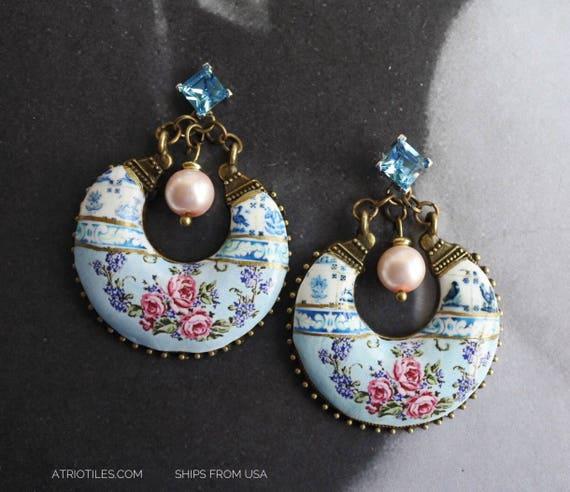 Earrings Portugal Tile Azulejo Fresco CHANDELIER STUD Earrings - Lisbon Delft Blue 1837 Pasteis de Belem Gypsy Cubic Zirconia Post Romantic