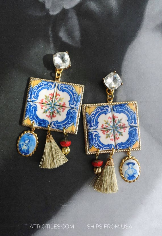 Earrings Tile Portugal Sicily Italian  Azulejo Antique Porto (see actual Facade photos)  Majolica Atrio Cubic Zirconia