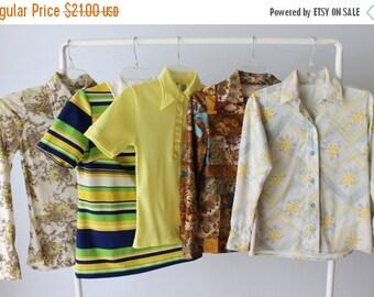 SALE Vintage Wholesale Bulk Blouse Lot / 1960s 1970s Blouses Tops/ 5 Piece Wholesale Women's Shirt Blouse Lots