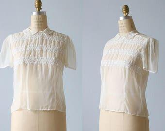 White 1950s Blouse / 50s Blouse / Sheer Nylon Blouse / Pintucks Embroidery Peter Pan Collar