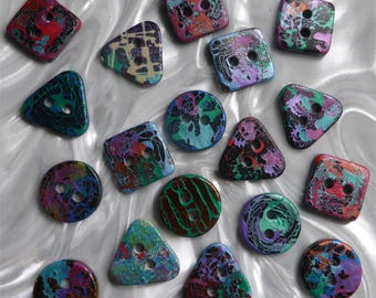 18 unusual funky handmade buttons (set18_14)