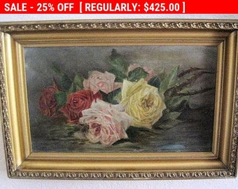 Antique Oil Painting Roses Canvas Signed