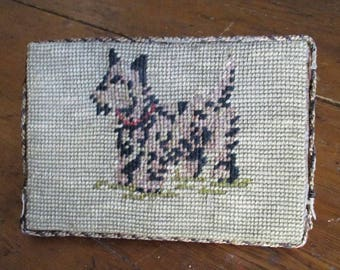Vintage Dog Needlepoint Door Stop Charming Folk Art