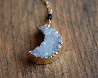 Druzy Moon Pendant Lariat Y Necklace- Gemstone Crystal Moon Necklace- Long Necklace.