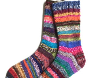 Crazy Socks, hand knit, knitted,  DK weight, multicolor socks, women, one of a kind, red blue purple pink yellow, striped, wool and nylon