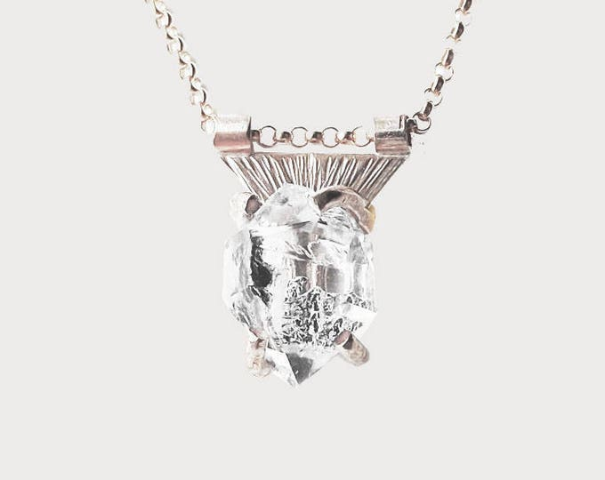 Sterling Silver Herkimer Diamond Crystal Necklace_ Triangle of Mars necklace_ Limited Edition