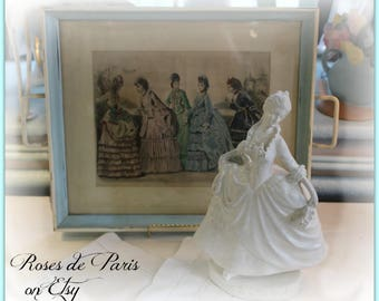 vintage tray with French Fashion plate ~ So Marie Antoinette!  ~Shabby aqua paint  Hang it or use it!