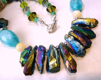 Mermaid Blue Rainbow Quartz Crystal Spike Necklace,  Blue Aurora Borealis and Aqua Glass Beads, OOAK by Rachelle Starr