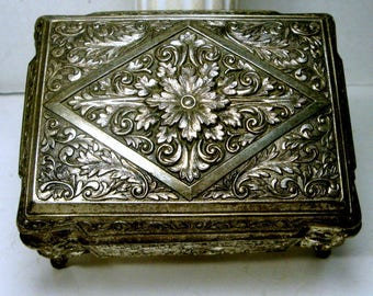 1950s Post War Metal Hinged Jewelry Box, Ornate French Style Shabby Silver Dresser Stash, Rococco Style, Japan, Red Lining