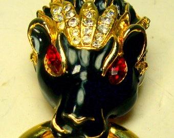 Rhinestone Black Lion Head Pin with Tassel, Fierce Red Eyed LEO Brooch, OOAK Rachelle Starr, Gold, Enamel and Stones, With ATTITUDE