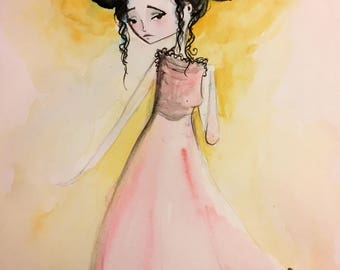 Original Watercolor painting -'Giselle' - Original Mixed Media Painting - Jessica von Braun - 2017- OOAK Artwork