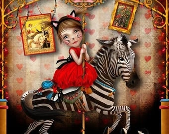 "50% Off SALE Art Print - ""Carousel Dreams"" - Medium or Large Print 8.5x11 or 8x10  Fine Giclee Art Print - Zebra Carousel Horse Art"