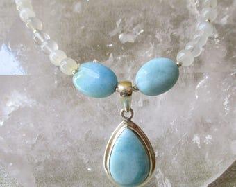 Larimar Pendant, Larimar Beads, Moonstone Beads, Larimar Necklace