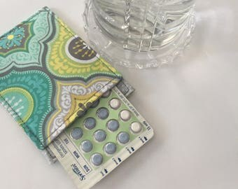 Birth Control Pill Sleeve, Morrocan Pill Case, Designer Fabric, Pill Sleeve, Cute and Discreet for your Bag