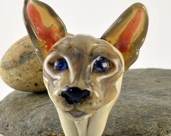 SIAMESE cat head sculpture focal glass lampwork bead, Izzybeads SRA