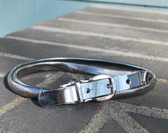Vintage Skinny Silver Metal Stretch Belt