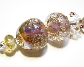 Coordinating Set of Five (5) Bumpy Lampwork Borosilicate Beads: Purples, Pinks, Champagne -- Lot 3N