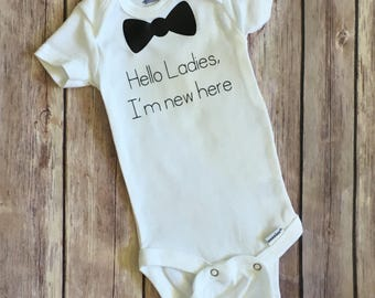 Hello ladies, im new here onesie, baby shower gift, new baby boy