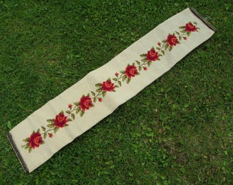 Vintage Needlepoint Bell Pull with Lovely Red Roses