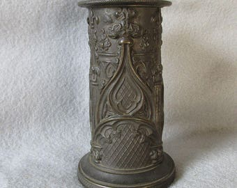 19thC Antique Gothic Brass Hatpin Holder, Vase, Pen Holder