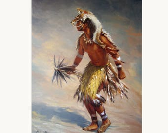 Chumash Dancer Original Painting 24x18""