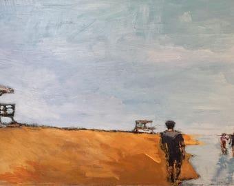 """Beach Walkers - Original Acrylic Oil Encaustic Landscape Painting - 23"""" x 12"""""""