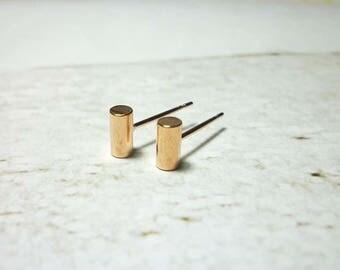 Cylinder Stud Earrings, Round Bar earrings