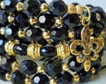 Black and Gold One Wrap Bracelet - Black Glass and Gold Metal Beads - Fleur de lis Charms - New Orleans Saints colors - bycat