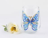 Butterfly hand painted wine glass, Butterfly lover, Blue, Spring, Bachelorette, Bridesmaid, Birthday, Teacher gift