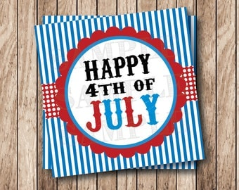 Printable Happy 4th of July Tags, Printable July 4th Tags, Instant Download
