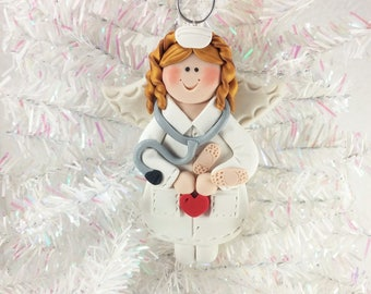 Nurse Angel Christmas Ornament - Nurse Gift - Polymer Clay Nurse Angel Ornament - Thank You Gift for Nurse - 61322