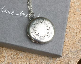Round Vintage Locket, Silver Pendant Necklace