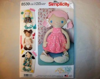 New Simplicity Stuffed Doll Pattern 8539 (Free US Shipping)
