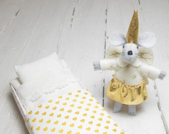 Stuffed mouse angel wings felt angel felt fairy mouse miniature mouse in a matchbox gold hearts golden stocking stuffer
