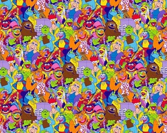 """The Muppets ~ Disney Fozzie Animal Kermit Miss Piggy Gonzo one yard of fabric 100% cotton by the yard 44"""" - 45"""" wide"""