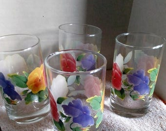 SALE TODAY Forget me Not Flower Glasses, Signed, Beautifull