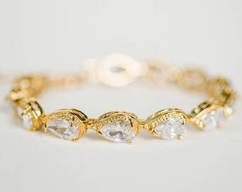 Wedding Bracelet, CZ Bracelet, Bridal Bracelet, Wedding Jewelry, Rose Gold, Gold, Silver