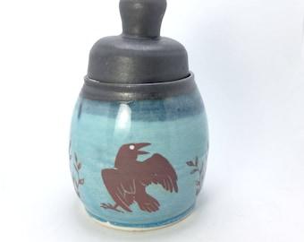 Blue and Black Crow Jar