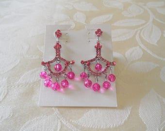 Sparkling Pink Fuchsia Rhinestones Chandelier Pierced Earrings